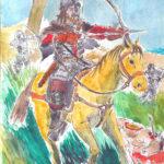 Dessin à l'encre de chine, à l'aquarelle et à la gouache d'un archer à cheval.
