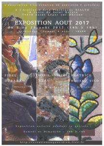 Affiche pour l'exposition d'Août 2017 de l'Atelier Rialto, à Saint Léger sur Dheune