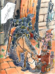 Etude d'une scène ou un cavalier rentre dans une cour.