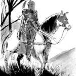 Image trditionellel d'un chevalier en armure sur sa monture.