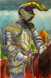Recherche d'un personnage avec une armure au détail travaillé (marqueur, palette graphique et aquarelle).