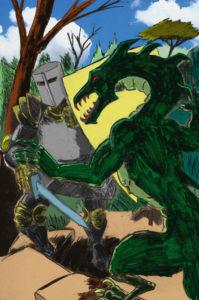 Un chevalier combat le dragon ou un monstre (marqueur et palette graphique).
