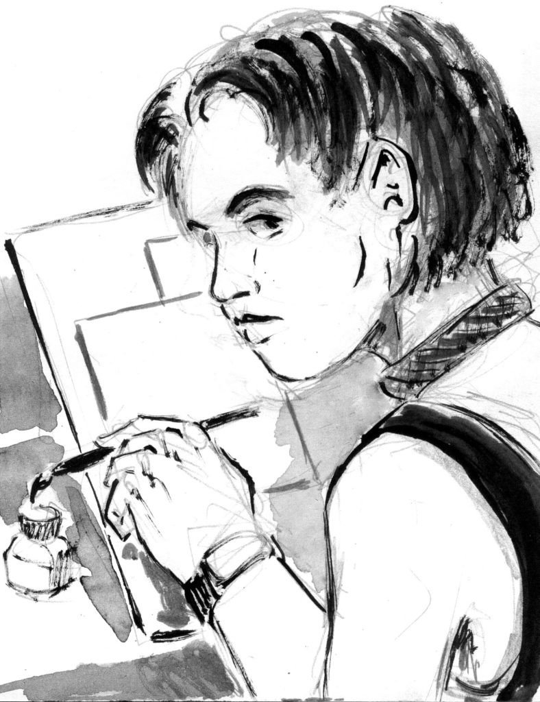 Exemple de Rina, un de mes personnages illustrateur qui peint ou fait de l'illustration