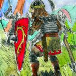 Dessin à l'encre et aquarelle d'un soldat moyenageur au style un peu oriental.