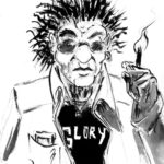 Portrait au lavis d'un personnage un peu punk