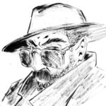 Portrait de personnage de série noire, à l'encre de chine.