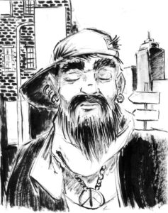 Portrait de personnage à l'encre et au lavis d'un vieil hippie.