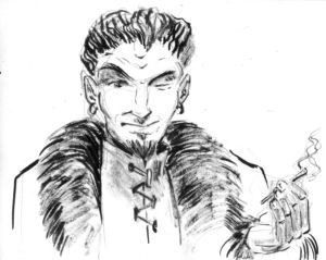 Portrait de personnage à l'encre et au lavis, extrait d'un carnet.
