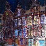 Dessin d'une facade de rue imaginaire, quelquepart entre Bruges et Bruxelles