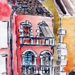 Petit immeuble rouge, extrait d'un carnet de dessin (marqueur et aquarelle).