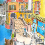 Dessin d'un quartier de ville imaginaire sur un canal (dessin au marqueur, aquarelle et palette graphique).
