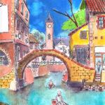Dessin d'un canal dans une ville