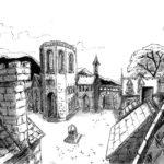 Dessin à l'encre de chine d'une vue de chateau.