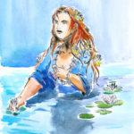 Dessin d'une Naïade qui sort de l'eau (encre de chine aquarelle)..