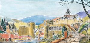 Décors de paysage (dessin à l'encre de chine et aquarelle).
