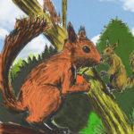 Deux écureuils, dessin à la palette graphique.