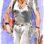 karina (dessin de carnet à l'encre et aquarelle).