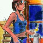 Nikki le matin (dessin à l'encre et palette graphique)