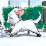 dessin d'un petit chien qui se promène.