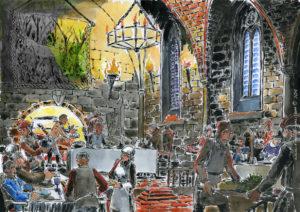 Dessin à l'encre de chine et aquarelle, représentant un bnquet dans un décors médiéval.