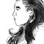 Visage de personnage à l'encre de chine: 2 sur 34