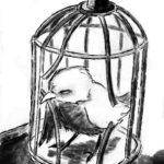 Dessin d'un petit oiseau qui brise sa cage.