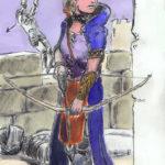 Dessin au marqueur et à l'aquarelle d'un archer femme sur le point de tirer.