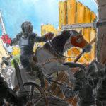 Dessin au marqueur et à l'aquarelle d'une scène de bataille au moyen age, dans un chateau fort.