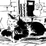 Dessin d'un bon gros chat angora fait à l'encre.