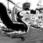 Dessin d'un canard et d'un colibri dans un plan d'eau, fait à l'encre et au lavis.