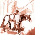 Dessin au lavis de deux cavaliers moyen-ageux dans une clairière.