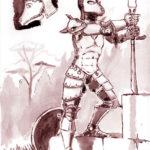 Dessin à l'encre de chine et lavis d'un chevalier à l'armure en forme de cerf.