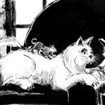 Dessin d'un chat blanc fait à l'encre de chine et qui joue sur un sofa.