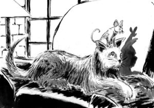 Dessin à l'encre et au lavis d'un chat gris à poil long et d'une souris.