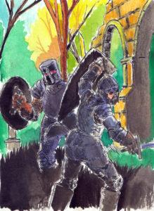 Scène de combat entre deux soldats en armure dans des ruines. Etude pour une scénette de BD (encre de chine et aquarelle).
