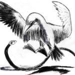 Dessin de carnet au marqueur d'un serpent et d'un oiseau.