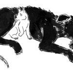 Dessin à l'encre d'une chienne et de son chiot.