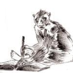 Ancien dessin au marqueur d'un singe qui lit.