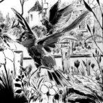 Dessin de deux oiseaux dans un champ d'herbes hautes.