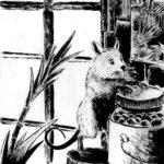 Dessin à l'encre de chine d'une petite souris blanche qui joue entre des bocaux.