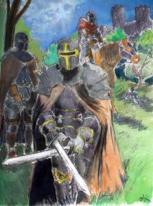 Dessin d'un groupe de chevaliers en armure, à l'aurée d'une forêt et près d'un chateau fort.