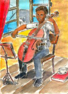Une violoncelliste qui répète.