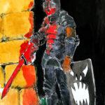 Dessin d'un soldat en armure, un peu gladiateur sur les bords (aquarelle et encre de chine).