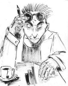 Portrait d'un personnage en train de corriger des copies, à l'encre et au lavis.