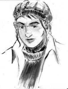Croquis de personnage (encre de chine, crayon et lavis)