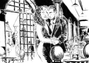 Dessin d'un couple qui danse dans un café (encre de chine).