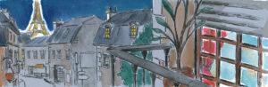 """Dessin d'une case de BD (""""Le dernier immortel"""") :une vue de Paris"""