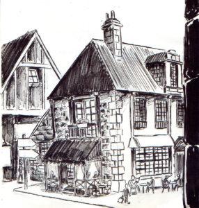 Dessin d'une petite ruelle avec une terrasse de restaurant.