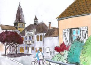 Dessin de la Mairie de Saint Léger sur Dheune (marqueur et aquarelle).