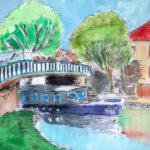 Pont sur canal, à Saint Léger sur Dheune